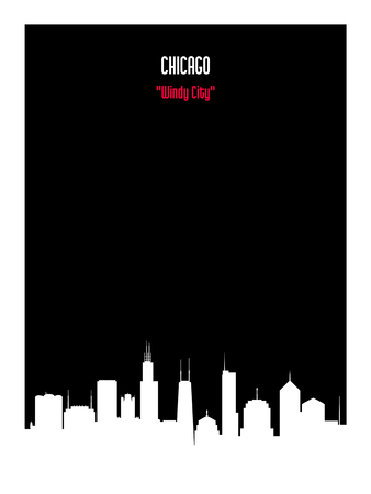 White silhouette chicago urban skyline on black background. Vector card.