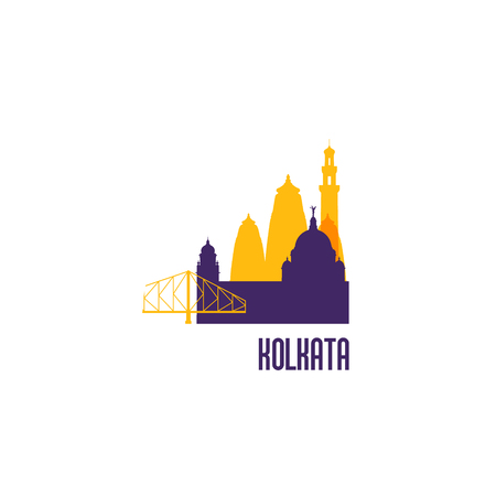 Sign buildings of Kolkata. Colorful architecture. Vector illustration.