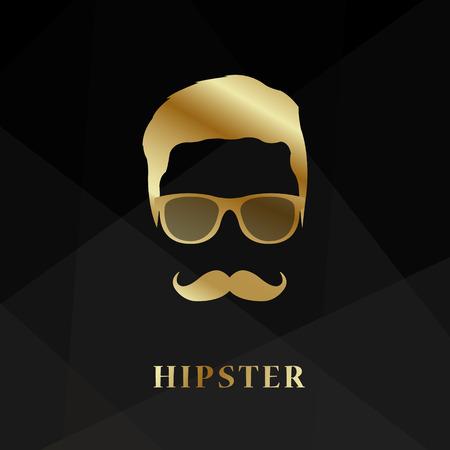 Golden silhouette face hipster on black background. Vector illustration.