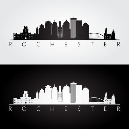 ロチェスター米国スカイラインとランドマーク シルエット、黒と白のデザイン、ベクトル イラストです。  イラスト・ベクター素材