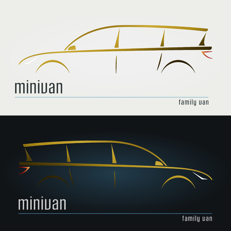 Set of modern minivan silhouettes. Vector illustration.