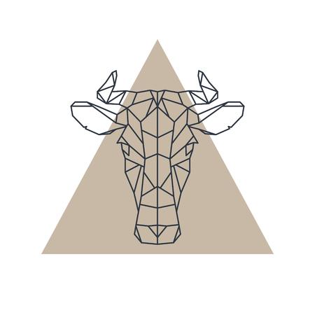 幾何学的な牛の頭。動物アイコン。ベクトルの図。