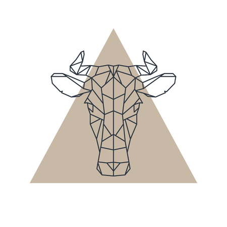 Geometric cow head. Animal icon. Vector illustration.