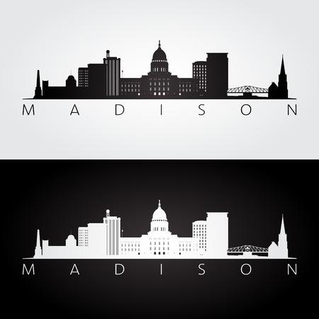 wisconsin: Madison USA skyline and landmarks silhouette, black and white design, vector illustration.