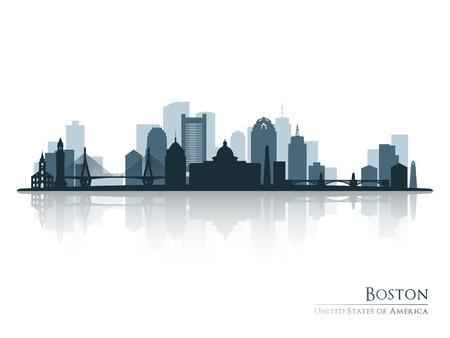 보스턴, 스카이 라인 실루엣 리플렉션과 함께입니다. 벡터 일러스트 레이 션.