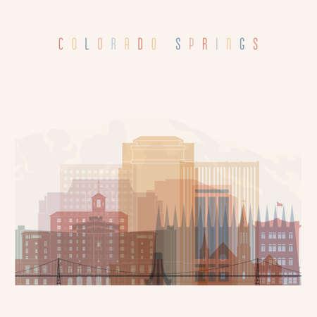 colorado springs: Colorado Springs state Colorado skyline detailed silhouette. Transparent style. Trendy vector illustration.