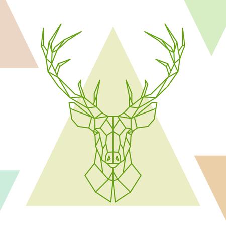 Geometric deer head on colorful triangles. Vector illustration.