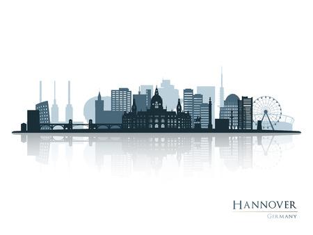 Hannover Skyline Silhouette mit Reflexion. Vektor-Illustration. Standard-Bild - 81816081