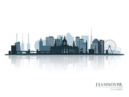 Hannover skyline silhouette with reflection. Vector illustration.