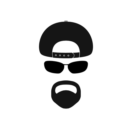 Man with baseball cap, sunglasses and goatee. Avatar icon. Illustration