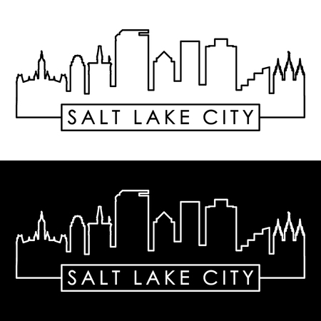 Salt Lake City skyline. Linear style. Editable vector file. Ilustracja