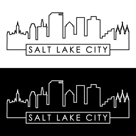 Salt Lake City skyline. Styl liniowy. Edytowalny plik wektorowy.