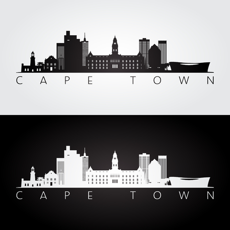 Cape Town skyline and landmarks silhouette, black and white design, vector illustration. Çizim