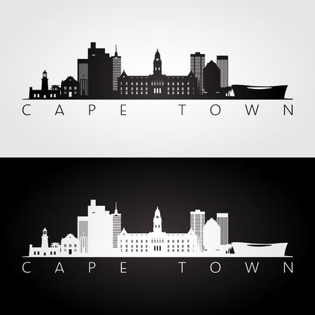 Kaapstad skyline en oriëntatiepunten silhouet, zwart-wit ontwerp, vectorillustratie.