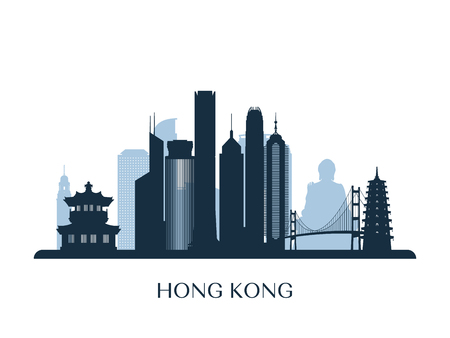 Hong Kong skyline, monochrome silhouette. Vector illustration.