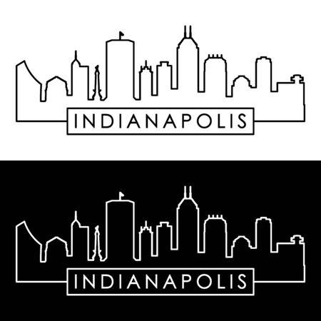 Indianapolis skyline. Linear style. Editable vector file. Stock Vector - 81805638