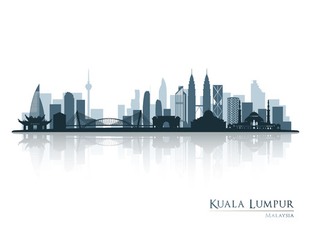 Kuala Lumpur, blue skyline silhouette with reflection. Vector illustration.