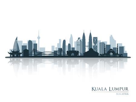 Kuala Lumpur, silueta del horizonte azul con la reflexión. Ilustración del vector.
