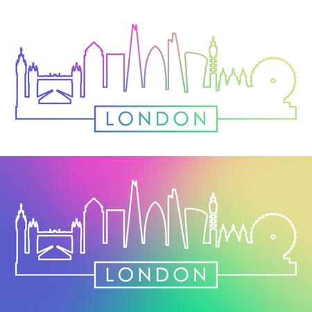 london tower bridge: London skyline. Colorful linear style. Editable vector file.