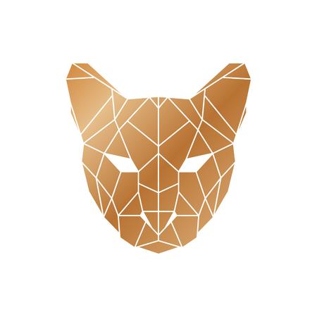Polygonal puma head. Wild animal icon.