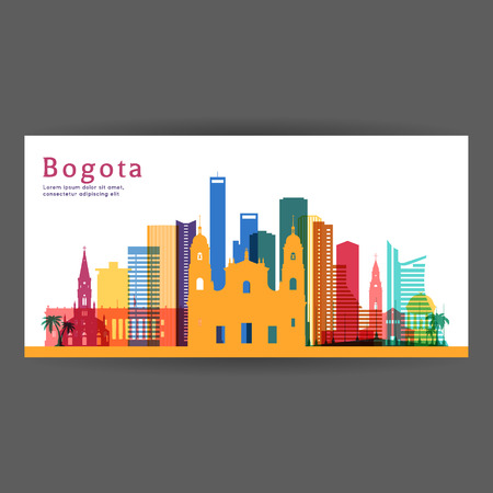 Bogota colorful architecture vector illustration, skyline city silhouette, skyscraper, flat design.