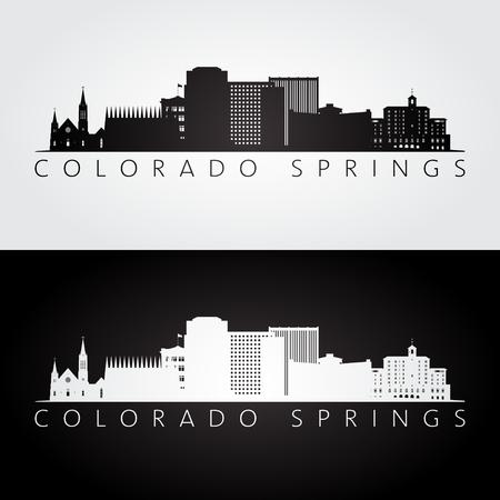 colorado springs: Colorado Springs USA skyline and landmarks silhouette, black and white design, vector illustration.