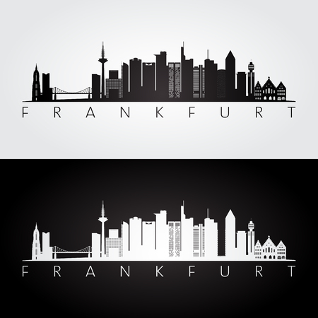 Frankfurt skyline and landmarks silhouette, black and white design, vector illustration.