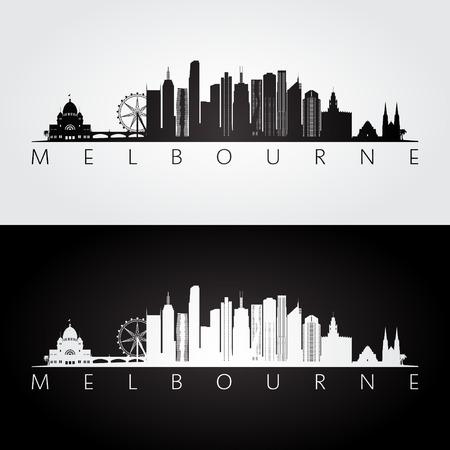 メルボルンのスカイラインとランドマークのシルエット、黒と白のデザイン、ベクトル イラストです。 写真素材 - 83037812