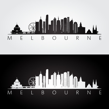 Melbourne skyline and landmarks silhouette, black and white design, vector illustration.