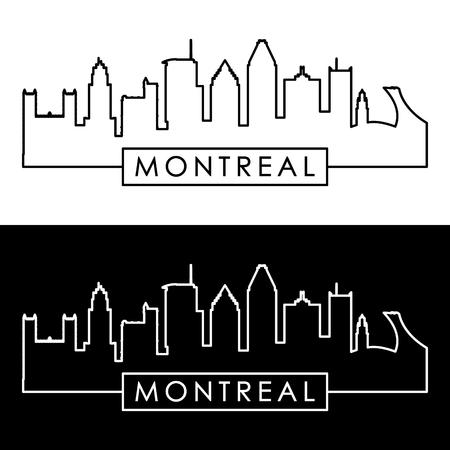 モントリオールの街並み。直線的なスタイル。編集可能なベクトル ファイル。