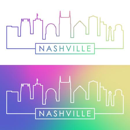 Nashville skyline. Colorful linear style. Editable vector file.