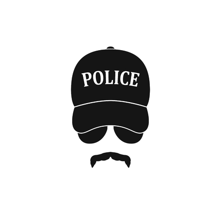 eyepiece: Policeman in baseball cap and sunglasses. Vector illustration.