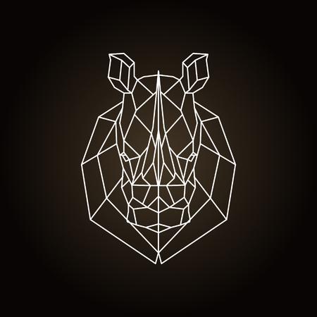 Rhinoceros head geometric lines silhouette. Icon isolated on dark brown background.