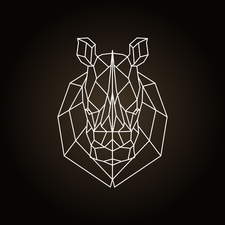 Rhinoceros head geometric lines silhouette. Icon isolated on dark brown background.