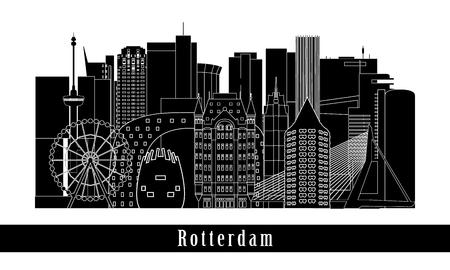 Rotterdam cityscape building line art design. Vector illustration. Stock Illustratie