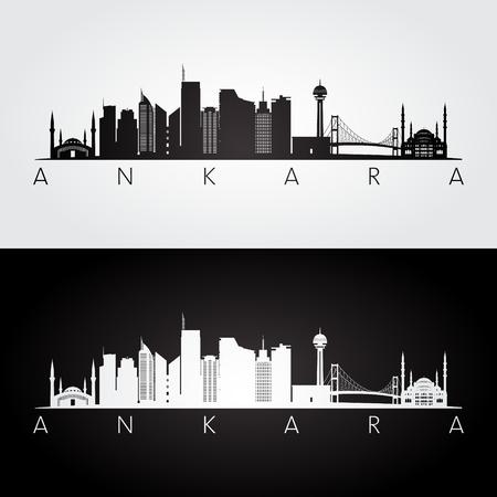 Ankara skyline and landmarks silhouette, black and white design, vector illustration.