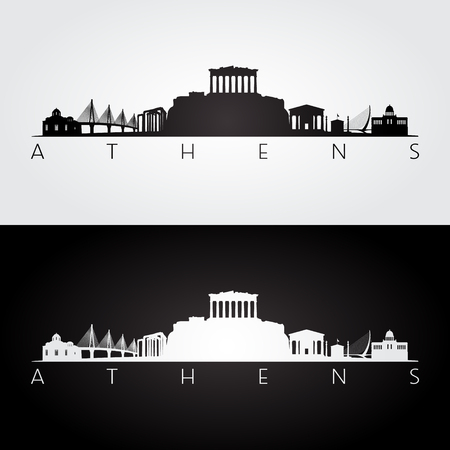 Athens skyline and landmarks silhouette, black and white design, vector illustration. Ilustração