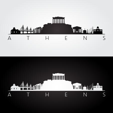 De horizon van Athene en oriëntatiepuntensilhouet, zwart-wit ontwerp, vectorillustratie.