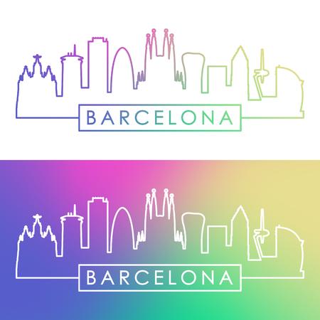 Skyline di Barcellona Stile lineare colorato. File vettoriale modificabile