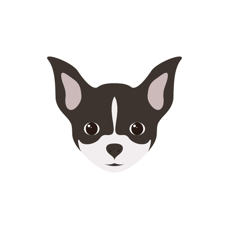Portrait of Chihuahua Puppy. Simple Dog. Vector illustration. Illustration
