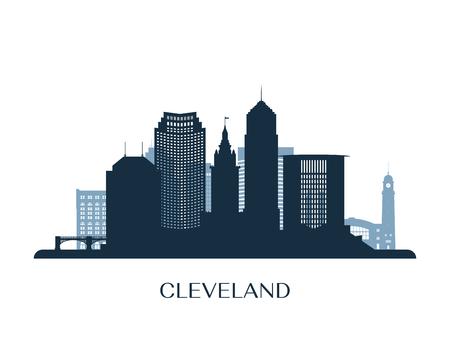 Cleveland skyline, monochrome silhouette. Vector illustration. Ilustrace