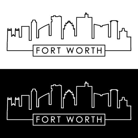 Fort Worth skyline. Linear style. Editable vector file.  イラスト・ベクター素材
