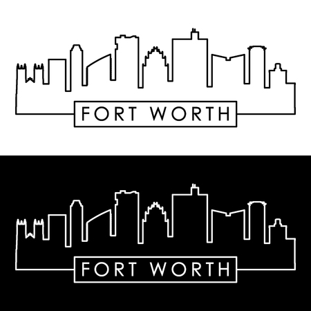 Fort Worth skyline. Linear style. Editable vector file. 矢量图像