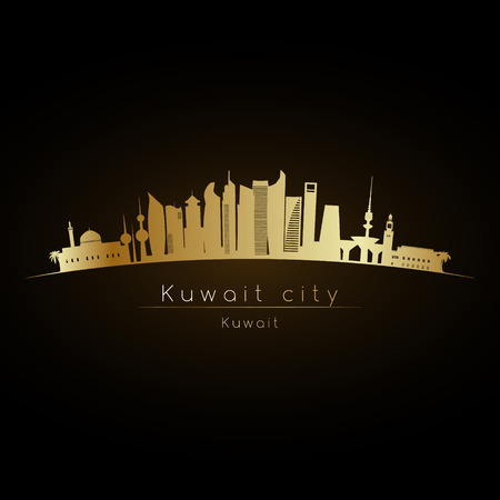 Golden logo Kuwait city skyline. Vector silhouette illustration. Illustration