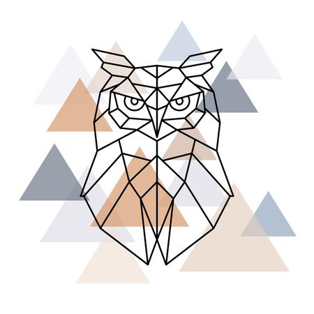 フクロウの幾何学的な頭。北欧スタイル。ベクトルの図。