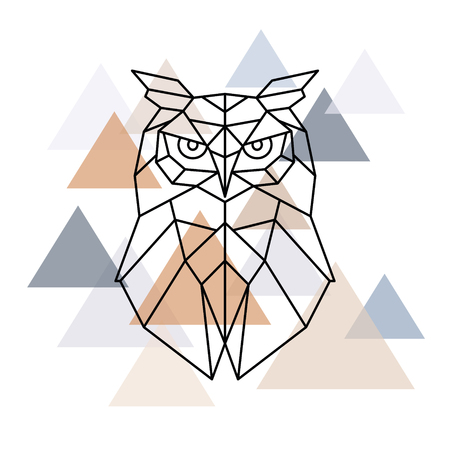Owl geometric head. Scandinavian style. Vector illustration. 向量圖像