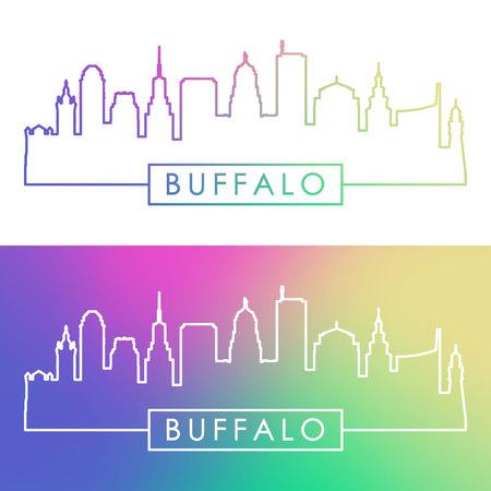 Buffalo skyline. Colorful linear style. Editable vector file.