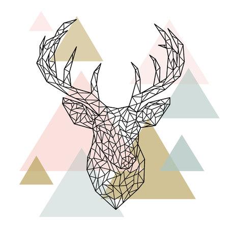 Polygonal head deer portrait. Scandinavian style. Vector illustration.