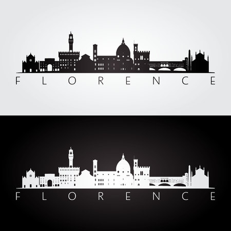 Florence skyline and landmarks silhouette, black and white design, vector illustration.