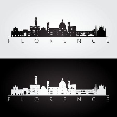 Florence skyline and landmarks silhouette, black and white design, vector illustration.
